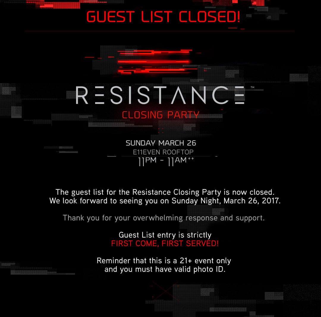 Closing Party Guest List - Resistance